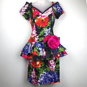 Lillie Rubin Black Floral Vintage Peplum Dress